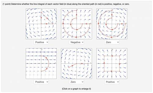 Determine whether each red path in the vector field is positive, negative, or zero